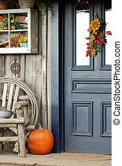 devant, Automne, porche