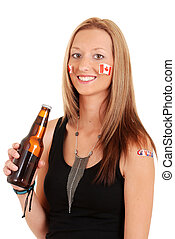 Young woman celebrating canada day - isolated Young woman...