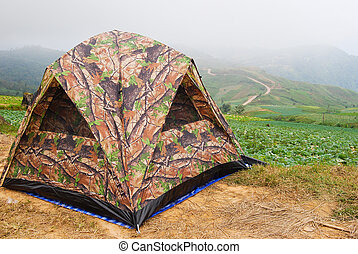 camping tent - Landscape of camping tent on the top of...