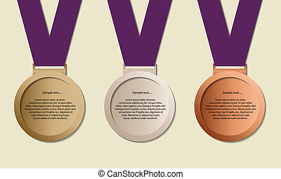 Medals in ribbon - Medal in ribbon with copy-space, symbol...