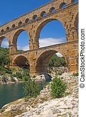 General view of the Pont du Gard (France) - The Pont du Gard...