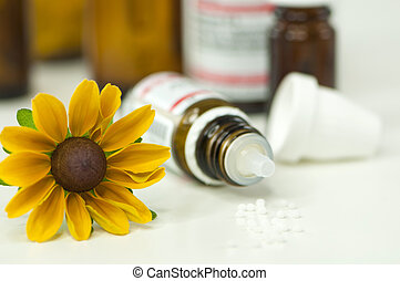 Homeopathy on white background