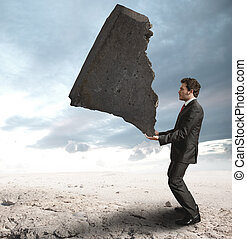 Businessman challenging the difficulties - Concept of a...
