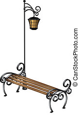 Bench and street lamp vector illustration