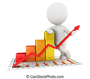 3d white people business statistic graph, isolated white...