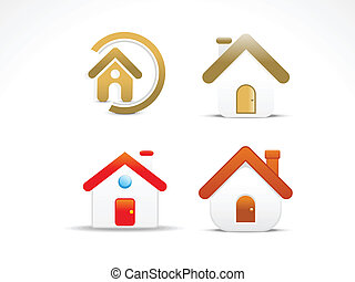 abstract home icon set