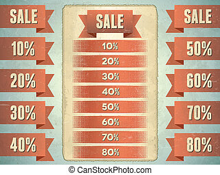 Set of sale ribbons with percents