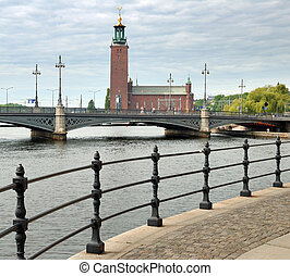 "Townhall. - Town hall and Vasabron bridge (""The Vasa..."