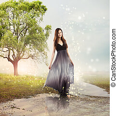Girl at a Brook - Beautiful Young Girl at a Magical River