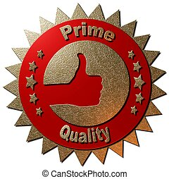 "Prime Quality - A red and golden seal with ""Prime Quality""..."