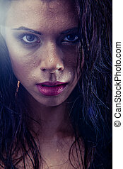 bruntette wet woman portrait - sexy bruntette wet woman...