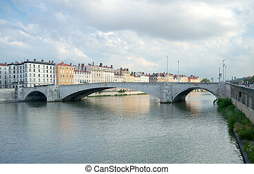Bonaparte bridge, Saone river, Lyon, France (inaugurated in...