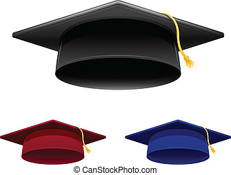 Graduation Cap - Graduation cap in 3 colors isolated on...