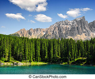 Carezza lake, Italy - Carezza lake, Val di fassa, Dolomites,...