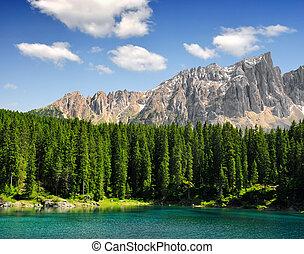 Carezza lake, Italy - Carezza lake, Val di fassa, Dolomites,...