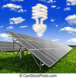 solar energy panels - Bulb from clouds above the solar...