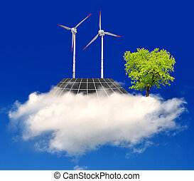 eco concept - solar panel and wind turbine on the cloud