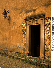 Yellow Brown Door Mexico - Yellow Brown Adobe Door Patzcuaro...