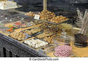 Typical cakes from Majorca - Shop window with typical cakes,...