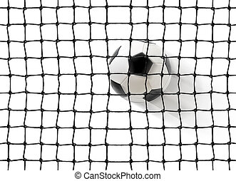 soccer ball flying into the gates isolated on white