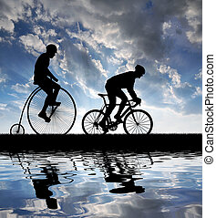 silhouette, cyclistes, bicycles