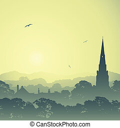 Country Landscape - A Country Landscape with Church Spire...