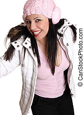 Happy Winter Woman - Happy cheerful girl wearing cosy winter...
