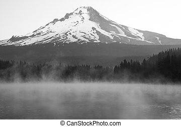 Misty Lake with Mount Hood - Early morning mist rising on...