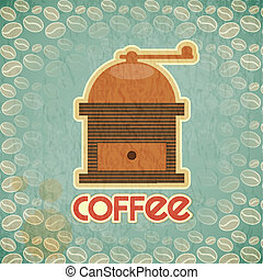 coffee mill vintage - Retro design Coffee Card - coffee mill...