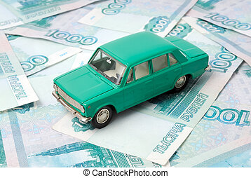 The old car and money - The old car on the background of...