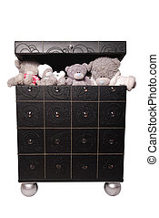 Toy bears in a chest isolated on white background