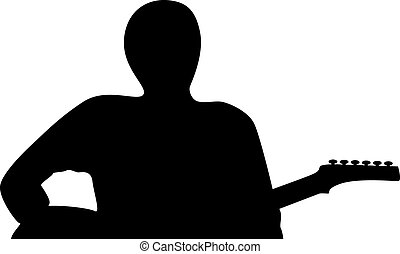 A silhouette of a guitar player isolated on white