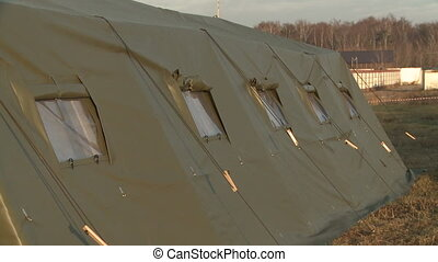 Fragment of military tent - View of military camp