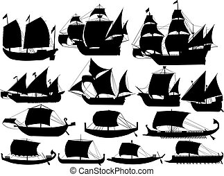 ancient sail boats - set of silhouettes of ancient sail...