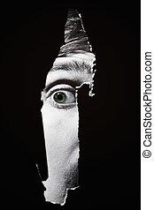 assustador, olhos, homem, espiar, através, Buraco,...
