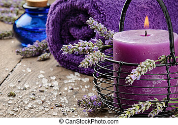 Spa setting in purple tone with lavender