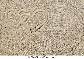 hearts and sand - two hearts painted on sand can be used as...