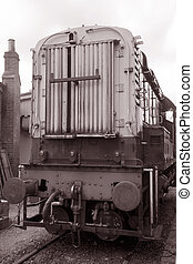 Goods Train Engine in Black and White Sepia Tone