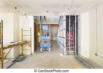 Drywall and Framing in Construction Site - Drywall and...