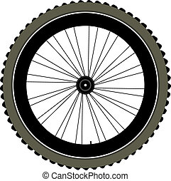 bike wheel with tire and spokes isolated on white background...
