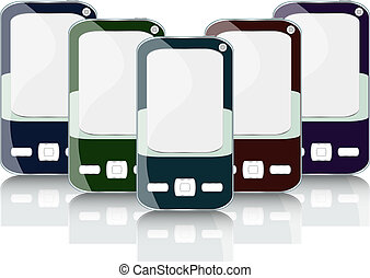 Vector smart phone cell mobile set with reflection
