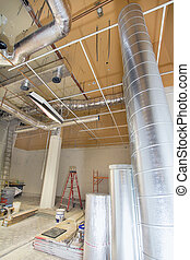 Heating and Cooling Duct Work for HVAC System in Commercial...