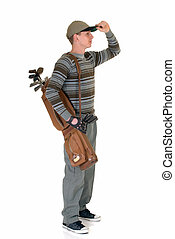 Young male golfer - Trendy looking young male golfer, studio...