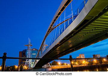 millennium bridge Manchester - Underside view of Millennium...