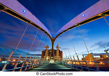 millennium bridge manchester f - Inside view of Millennium...
