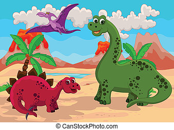 Dinosaurs Family with background - vector illustration of...