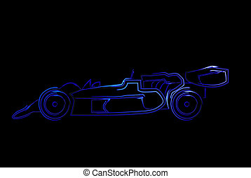 open wheel race car outline - blue stylized outline of an...