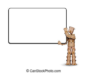 Blank sign held by box man - Blank white sign held by a box...