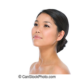 Beauty portrait of healthy asian brunette woman isolated on...
