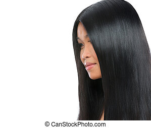 Beauty portrait of asian brunette woman healthy long...
